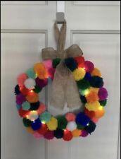Christmas Wreath Pom Poms And Fairy Lights Multi Coloured