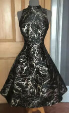 GORGEOUS COAST JACQUARD BLACK GOLD EVENING DRESS SIZE 14