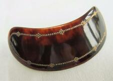 Antique Edwardian Hair Barrette Clip - Faux Tortoiseshell & Gilt Pique  c1910
