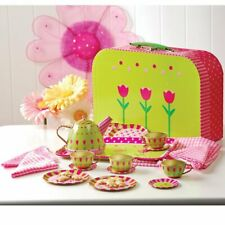 CP Toys Take-Along Tin Tea Set for Kids – 20 Pieces Including Service for 4, T