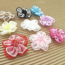 "US SELLER - 27 pcs x 1.25"" 2-Layer Organza Ribbon Flower Appliques w/Beads ST429"
