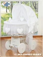 My Sweet Baby - Heart White Wicker Crib Moses Basket - White