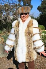 "Coyote Fox Fur Coat 34"" David Green FREE HAT M and Multi-color"