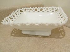 S38 antique reticulated white milk glass pottery glassware opaque oblong dish