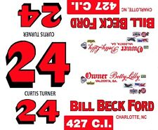 #24 CURTIS TURNER 1965-66 Galaxie Bill Beck Ford 1/24th - 1/25th Scale Decals