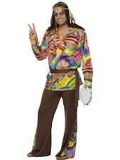 (tg. Medium) Brown Smiffys Psychedelic Hippie Costume Uomo