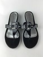 Lauren by Ralph Lauren Kamari Womens Black Patent Leather Flip Flops Sandals 8.5