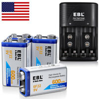 4x 600mAh 9V 6F22 Li-ion Rechargeable Batteries+Universal 9 Volt Battery Charger