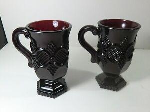 "Avon Ruby Red Glass - 5"" mugs - Cape Cod"