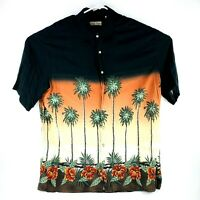 Hollis River Mens XLT Tall Black Hawaiian Shirt Palm Print 100% Rayon Casual