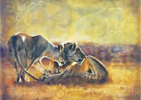 "African Lion - HUGE A1 size 24""X32"" QUALITY Canvas Art Print Poster Unframed"