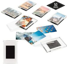 More details for 50 x blank fridge magnets clear acrylic insert magnets photos pictures 7x4.5cm