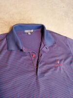 Peter Millar Mens LARGE Summer Comfort Blue Red Stripe Polo Shirt Frost Creek