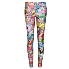 Women Fashion Monster Collage Funny Skinny Leggings Slim Pants Stretch Trouser