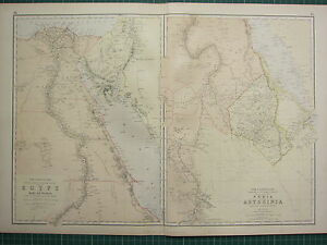 1882 LARGE ANTIQUE MAP ~ NILE VALLEY EGYPT SINAI NILE DELTA NUBIA ABYSSINIA