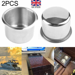 2Pcs Recessed Cup Drink Can Stainless Steel Holder for Marine Boat RV Camper Hot