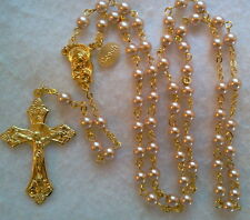 PINK ROSE PEARL CRYSTAL ROSARY-18K GOLD PLATED MADE IN THE CZECH REP