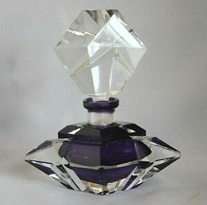 Antique Vntg WEST GERMANY Hand Cut Lead Crystal Art PERFUME BOTTLE Label PURPLE
