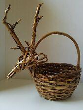 Vintage Deer Woven Rattan Basket Wicker Reindeer Hunting Country Wedding