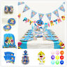 Baby Shark Sea Birthday Party Supplies Bag Tableware Plates Cups Napkin Decor