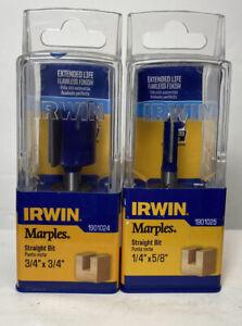 Lot 2-Irwin Marples Straight Router Bit 1901024 3/4x3/4, 1901025 3/4x5/8 1/4 Sh