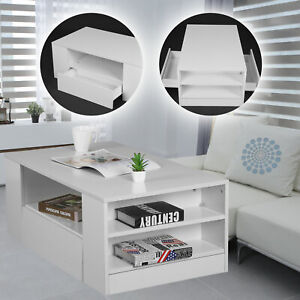 High Gloss Modern Coffee Table Wooden Drawer Storage Living Room Furniture