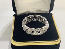 Sterling Silver,diamonds,Men's  Eternity Wedding Anniversary Band,ring,size 13