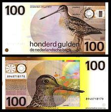 Netherlands 1977 100 Gulden Snipe Bird Bank Note AU-UNC / ** P97