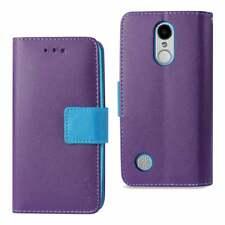REIKO WALLET PHONE CASE FOR LG ARISTO/ FORTUNE/ PHOENIX 3 PLUS IN PURPLE & BLUE