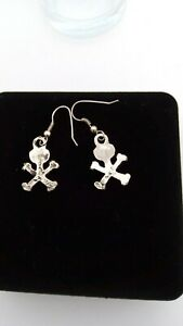 Pirate Gothic style scull and crossbones silver tone metal Hooks drop 2.5 cm
