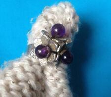 Bague Fleurs Perles Améthyste & Argent Charançon / Sterling Flowers Ring