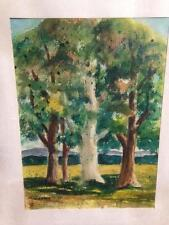 Original Watercolor Landscape Tree Painting Signed 1979 Art #1