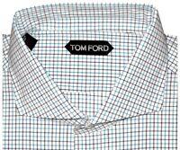 $640 NEW TOM FORD AQUA CHECK WIDE SPREAD COLLAR HAND MADE DRESS SHIRT EU 44 17.5