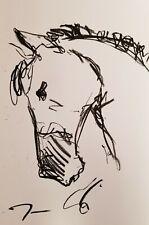 JOSE TRUJILLO ART OIL PASTELS Painting ABSTRACT Minimalism 13X19 HORSE PORTRAIT