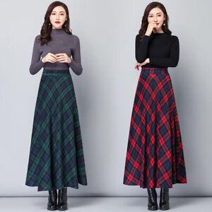 Winter Business Casual Plaids Wool Blend Elastic High Wais A-Line Long Skirts