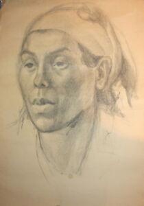 Antique pencil drawing female portrait