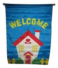 """28x40 Embroidered Sewn Welcome Home Appliqued Nylon Garden Flag 28""""x40"""""""