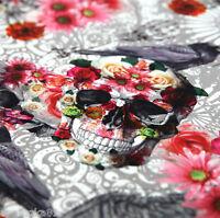Jersey Stoff Gothic Rosen Skulls Schädel Raben Totenkopf Vögel Totenköpfe - EDEL