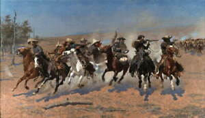 Frederic Remington A Dash for the Timber Poster Reproduction Giclee Canvas Print
