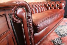 RARE CLASSIC BURNT ORANGE MORAN CHESTERFIELD LEATHER LOUNGE 3 SEATER COUCH SOFA