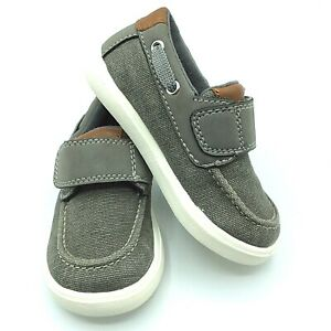 Jumping Beans Toddler Boys Size 6 Gray Canvas Casual Dress Slip On Boat Shoes