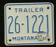 MONTANA 1976 BASE TRAILER LICENSE PLATE, Used, Last Stickered In 1987