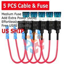 5 PCS Add Circuit ACU Piggy Back Tap Standard Blade Fuse Holder 15A Medium Size