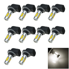 10x White Car 881 Exterior Light Fog Blub 5 Emitters COB SMD LED H27W2 H651