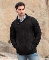 Aran black Shawl Collar Mans Sweater Sh4177- Made in Ireland by Aran Crafts