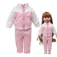 Fashion Girl's Toy Zipper Sportswear Coat&Pants Set For 18 Inch American Doll