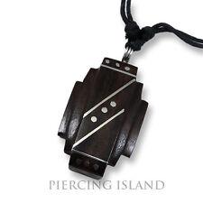 Amulett Anhänger Design Kette Halskette Holz Edelstahl N275