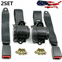 2x Retractable 3 Point Safety Seat Belt Straps Car Vehicle Adjustable Belt Kit