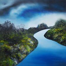 "Isabelle amante original ""Azul River"" pintura impresionista árboles Bosque"