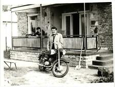 Motorcycle, Man with his Motorcycle, 1969, Hungary, Szeplak-Also, Old Photo